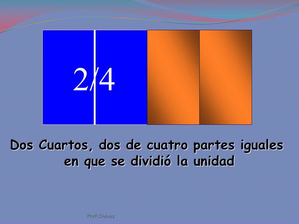 1/4 Un cuarto, uno de cuatro partes iguales en que se dividió la unidad. Ptof.Chávez
