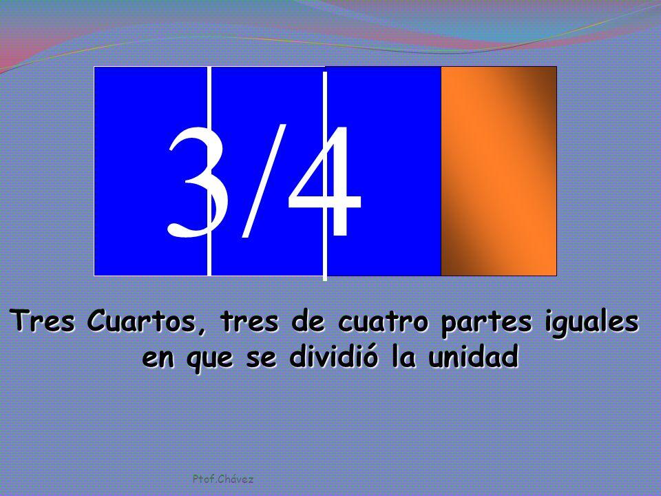 2/4 Dos Cuartos, dos de cuatro partes iguales en que se dividió la unidad Ptof.Chávez