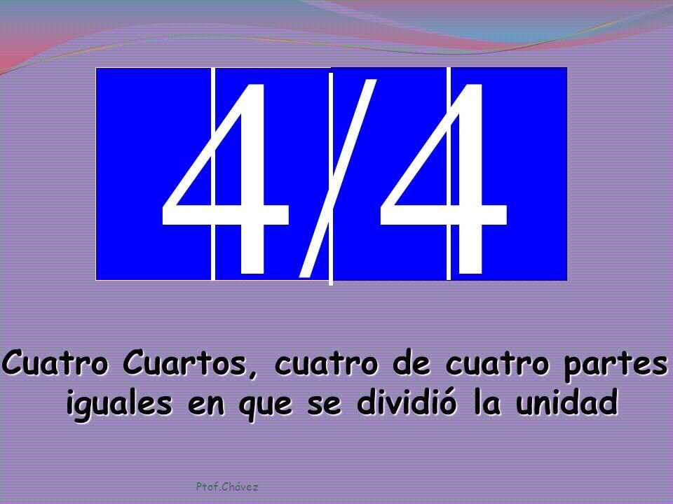 3/4 Tres Cuartos, tres de cuatro partes iguales en que se dividió la unidad Ptof.Chávez