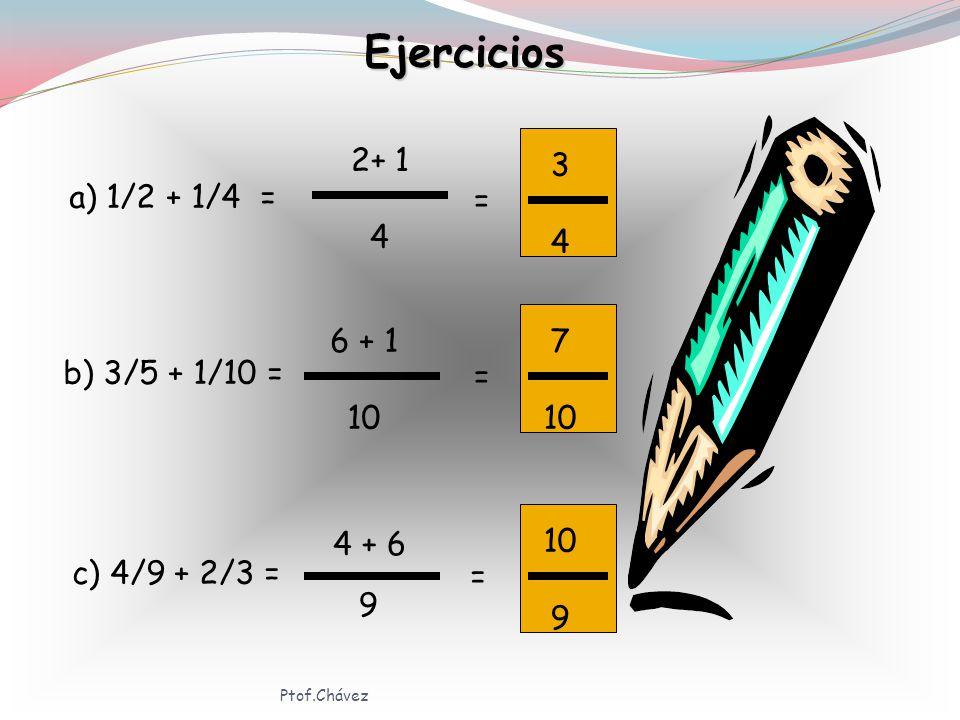 Regla Para sumar fracciones heterogéneas, encontramos el mínimo común múltiplo de los denominadores,que será el denominador de la fracción resultante.El m.c.m.