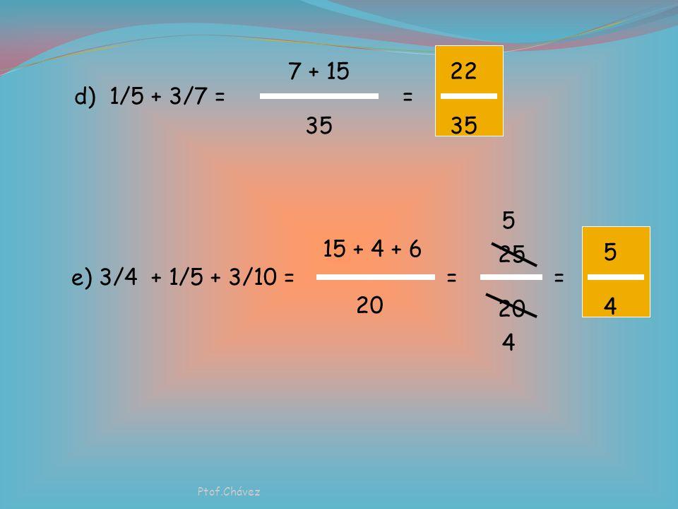 Ejercicios a) 1/2 + 1/4 = 2+ 1 4 = 3434 b) 3/5 + 1/10 = 6 + 1 10 c) 4/9 + 2/3 = 4 + 6 9 7 10 == 9 Ptof.Chávez