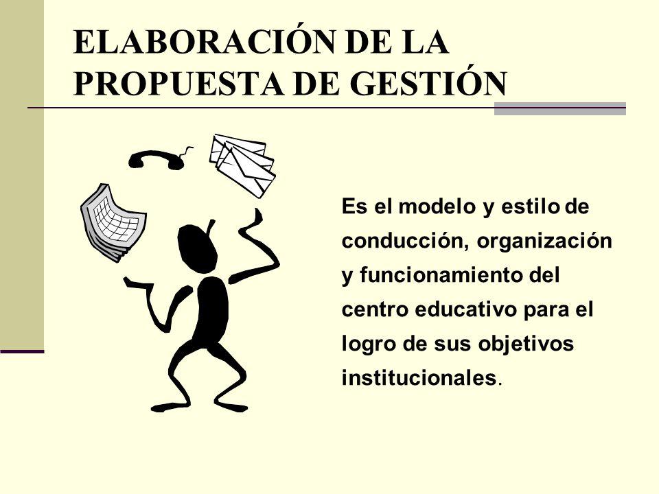 ELABORACIÓN DE LA PROPUESTA DE GESTIÓN Es el modelo y estilo de conducción, organización y funcionamiento del centro educativo para el logro de sus ob