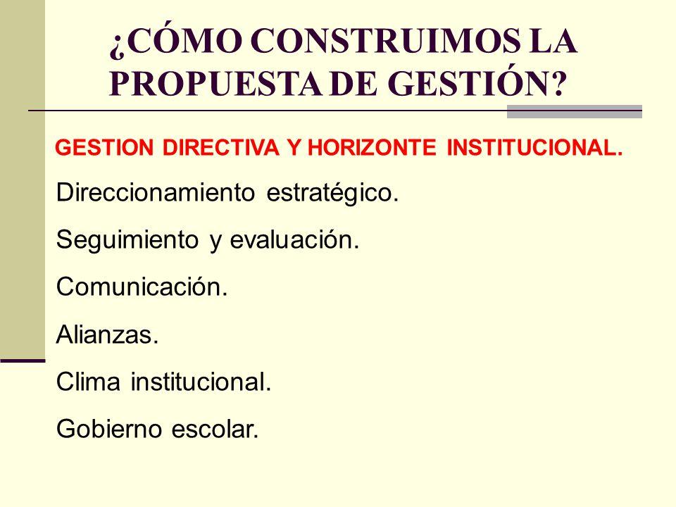 ¿CÓMO CONSTRUIMOS LA PROPUESTA DE GESTIÓN? GESTION DIRECTIVA Y HORIZONTE INSTITUCIONAL. Direccionamiento estratégico. Seguimiento y evaluación. Comuni
