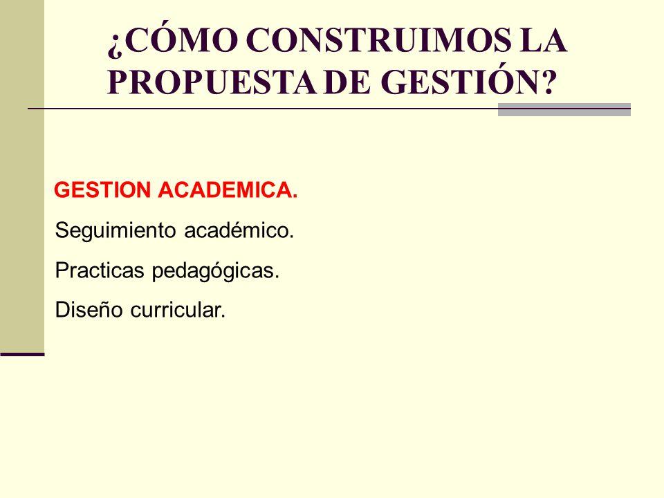 GESTION ACADEMICA. Seguimiento académico. Practicas pedagógicas. Diseño curricular. ¿CÓMO CONSTRUIMOS LA PROPUESTA DE GESTIÓN?