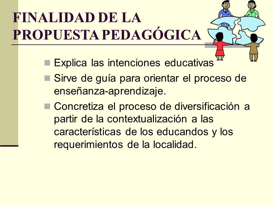 FINALIDAD DE LA PROPUESTA PEDAGÓGICA Explica las intenciones educativas Sirve de guía para orientar el proceso de enseñanza-aprendizaje. Concretiza el