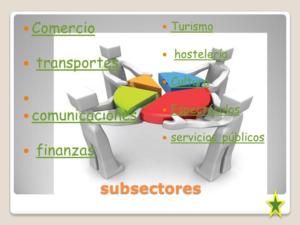 subsectores Comercio transportes comunicaciones finanzas Turismo hostelería Cultura Espectáculos servicios públicos