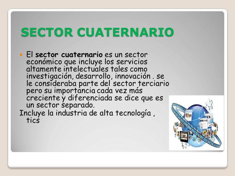 SECTOR CUATERNARIO El sector cuaternario es un sector económico que incluye los servicios altamente intelectuales tales como investigación, desarrollo, innovación.