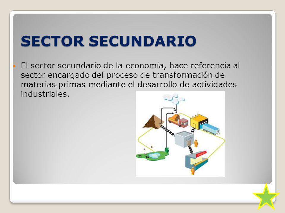 SECTOR SECUNDARIO El sector secundario de la economía, hace referencia al sector encargado del proceso de transformación de materias primas mediante el desarrollo de actividades industriales.