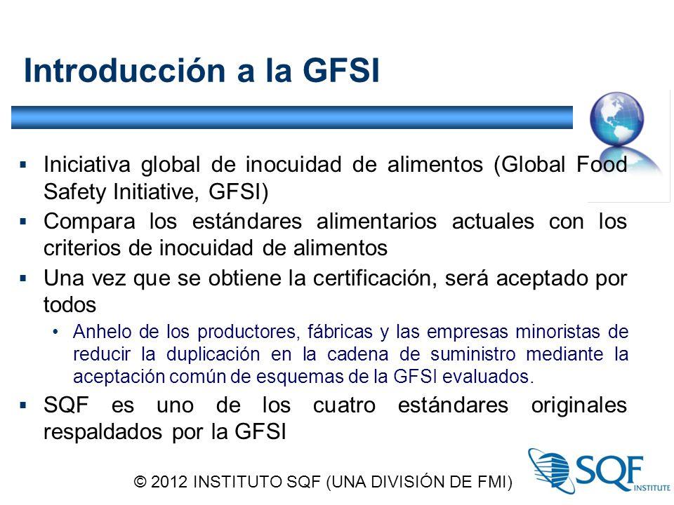 Introducción a la GFSI  Iniciativa global de inocuidad de alimentos (Global Food Safety Initiative, GFSI)  Compara los estándares alimentarios actuales con los criterios de inocuidad de alimentos  Una vez que se obtiene la certificación, será aceptado por todos Anhelo de los productores, fábricas y las empresas minoristas de reducir la duplicación en la cadena de suministro mediante la aceptación común de esquemas de la GFSI evaluados.