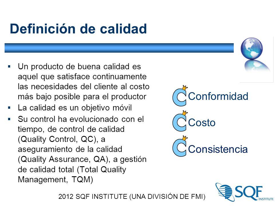 Definición de calidad  Un producto de buena calidad es aquel que satisface continuamente las necesidades del cliente al costo más bajo posible para el productor  La calidad es un objetivo móvil  Su control ha evolucionado con el tiempo, de control de calidad (Quality Control, QC), a aseguramiento de la calidad (Quality Assurance, QA), a gestión de calidad total (Total Quality Management, TQM) 2012 SQF INSTITUTE (UNA DIVISIÓN DE FMI) Conformidad Costo Consistencia
