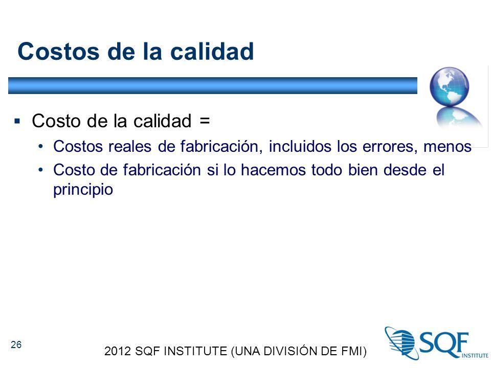 Costos de la calidad  Costo de la calidad = Costos reales de fabricación, incluidos los errores, menos Costo de fabricación si lo hacemos todo bien desde el principio 2012 SQF INSTITUTE (UNA DIVISIÓN DE FMI) 26