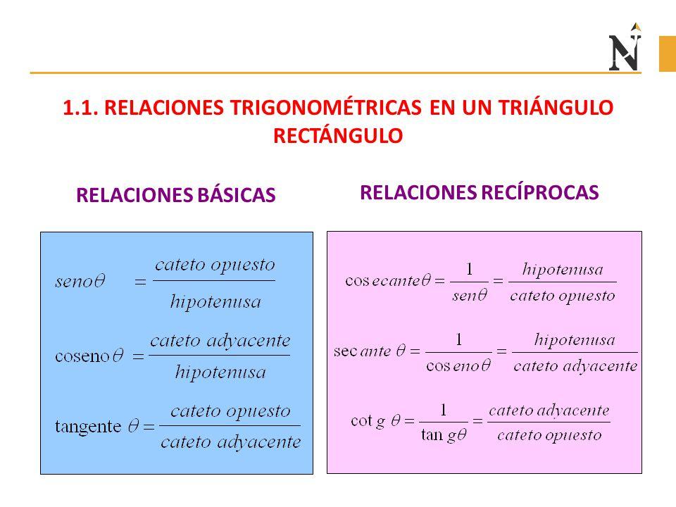 RELACIONES BÁSICAS RELACIONES RECÍPROCAS 1.1. RELACIONES TRIGONOMÉTRICAS EN UN TRIÁNGULO RECTÁNGULO