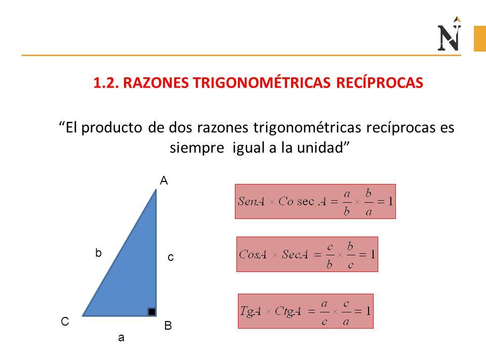 """1.2. RAZONES TRIGONOMÉTRICAS RECÍPROCAS """"El producto de dos razones trigonométricas recíprocas es siempre igual a la unidad"""" c b a A C B"""