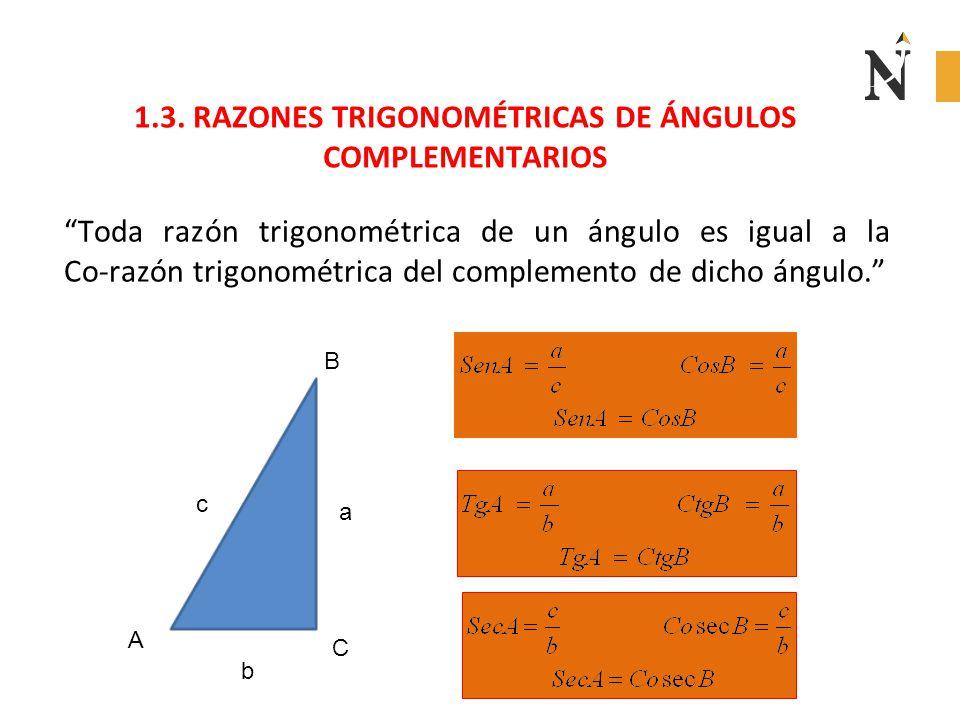 """1.3. RAZONES TRIGONOMÉTRICAS DE ÁNGULOS COMPLEMENTARIOS """"Toda razón trigonométrica de un ángulo es igual a la Co-razón trigonométrica del complemento"""