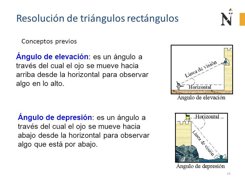 18 Resolución de triángulos rectángulos Conceptos previos Ángulo de elevación: es un ángulo a través del cual el ojo se mueve hacia arriba desde la ho