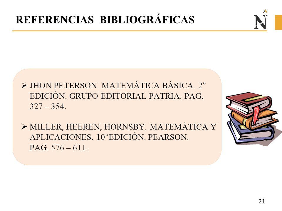 REFERENCIAS BIBLIOGRÁFICAS  JHON PETERSON. MATEMÁTICA BÁSICA. 2° EDICIÓN. GRUPO EDITORIAL PATRIA. PAG. 327 – 354.  MILLER, HEEREN, HORNSBY. MATEMÁTI