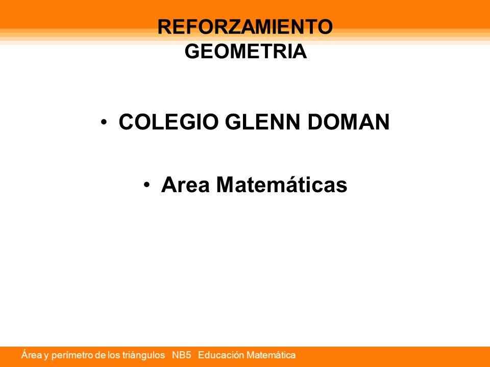 Área y perímetro de los triángulos NB5 Educación Matemática REFORZAMIENTO GEOMETRIA COLEGIO GLENN DOMAN Area Matemáticas
