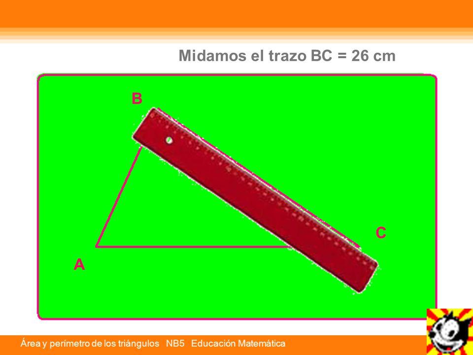 Área y perímetro de los triángulos NB5 Educación Matemática C A B Midamos el trazo BC = 26 cm