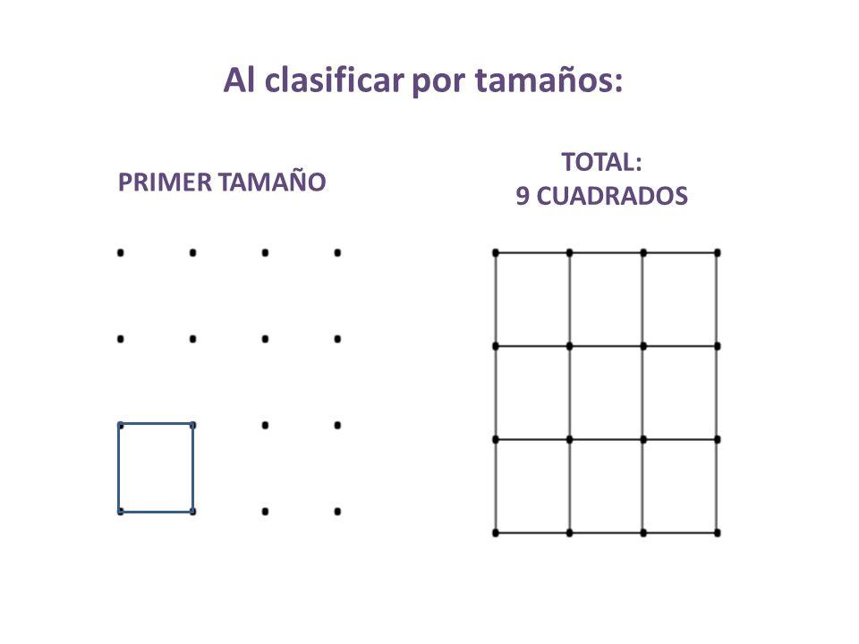 Al clasificar por tamaños: PRIMER TAMAÑO TOTAL: 9 CUADRADOS