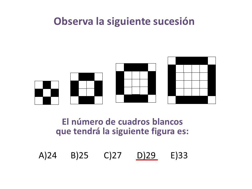 Observa la siguiente sucesión El número de cuadros blancos que tendrá la siguiente figura es: A)24B)25C)27D)29E)33