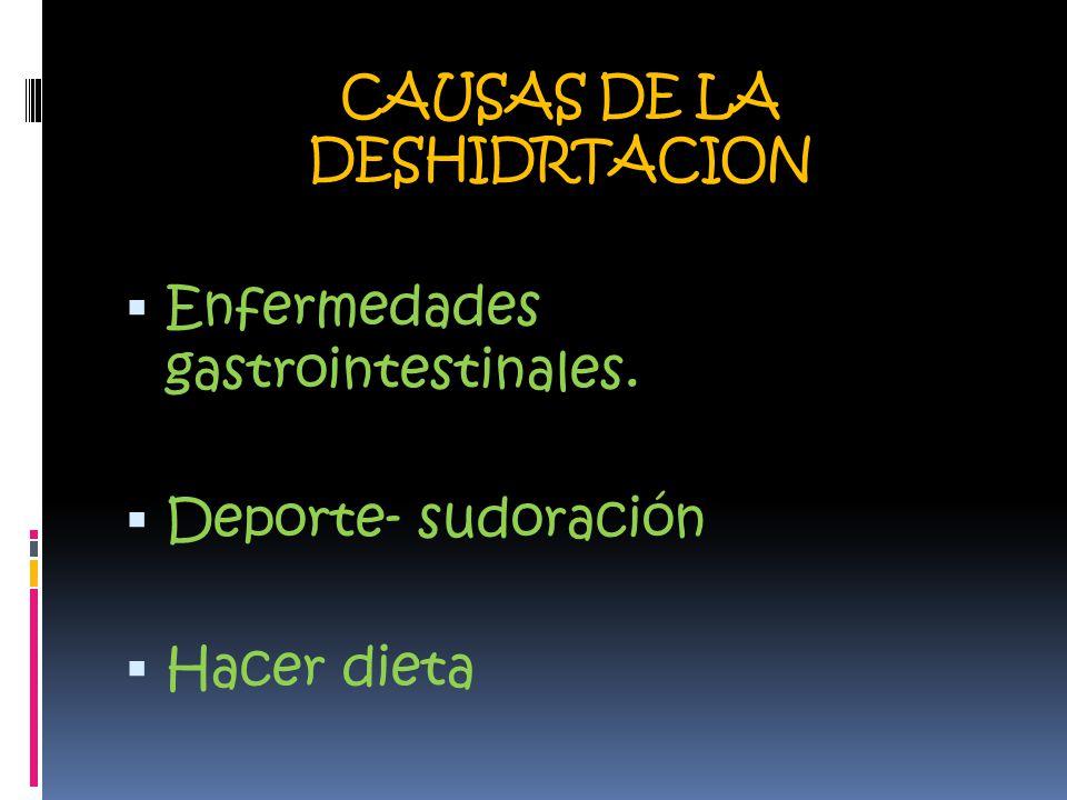 CAUSAS DE LA DESHIDRTACION  Enfermedades gastrointestinales.  Deporte- sudoración  Hacer dieta