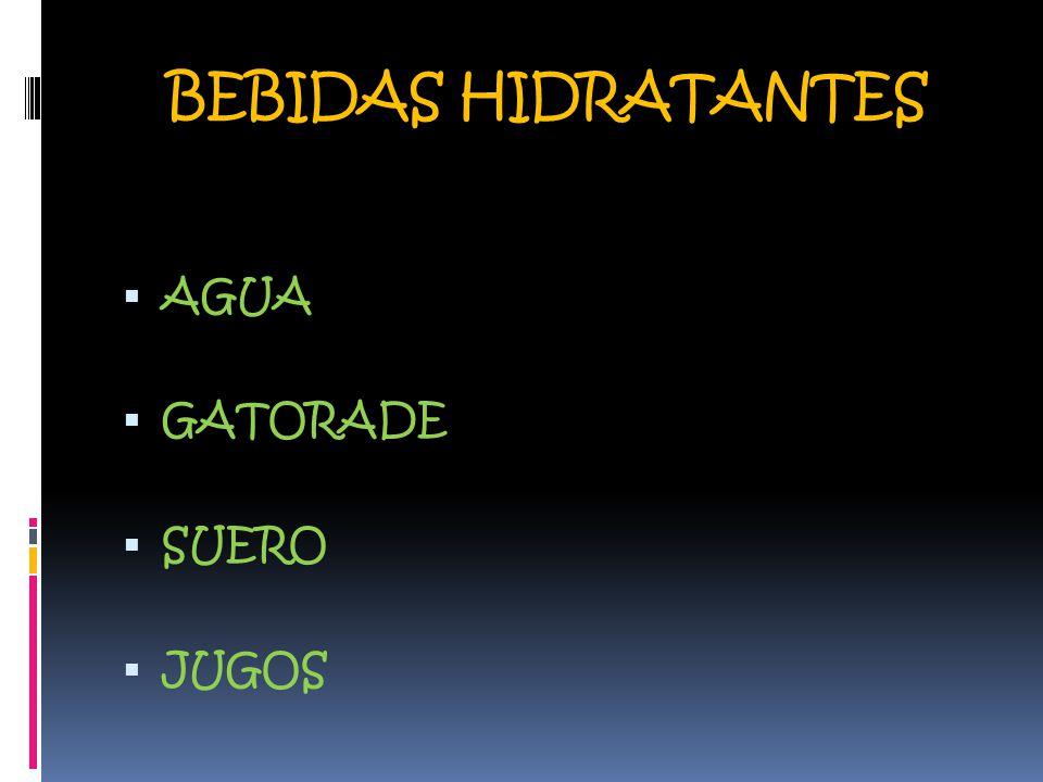 BEBIDAS HIDRATANTES  AGUA  GATORADE  SUERO  JUGOS