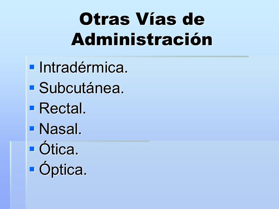 Otras Vías de Administración  Intradérmica.  Subcutánea.  Rectal.  Nasal.  Ótica.  Óptica.