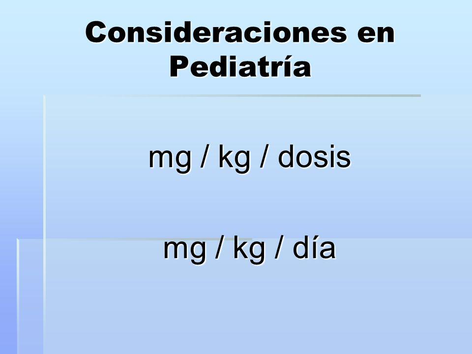 Consideraciones en Pediatría mg / kg / dosis mg / kg / día