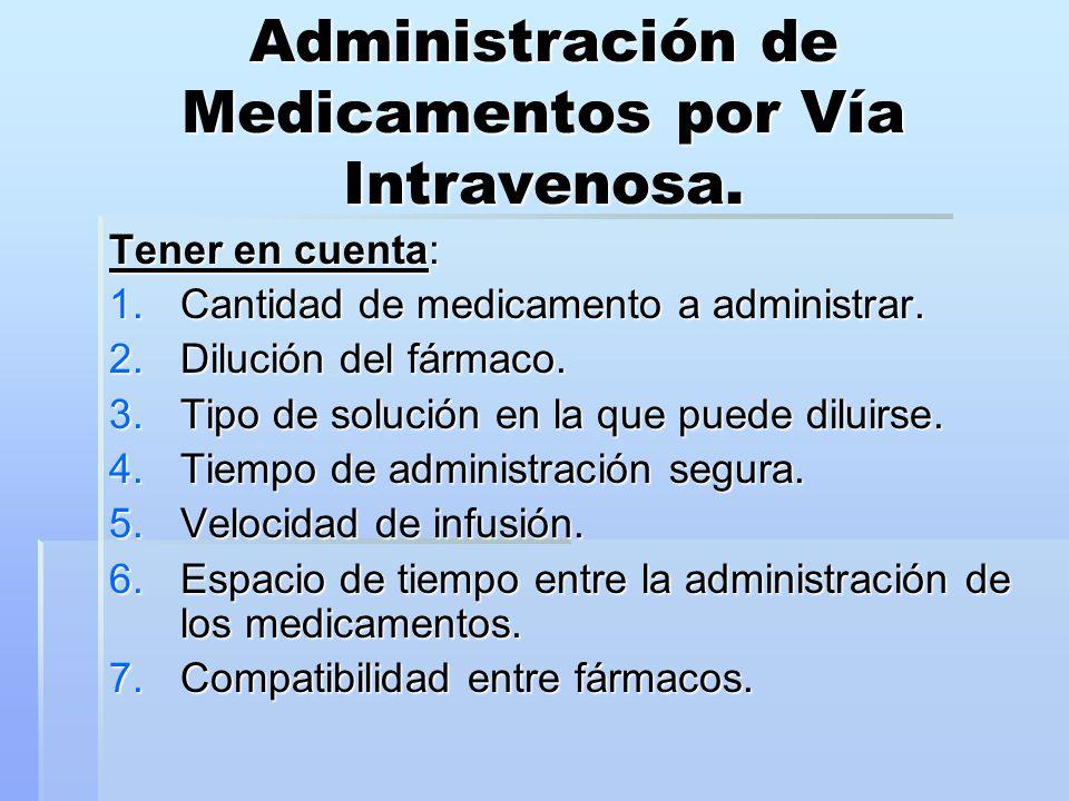 Administración de Medicamentos por Vía Intravenosa.