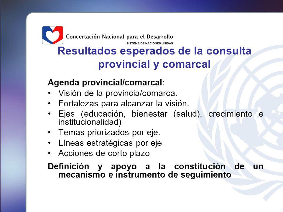 Resultados esperados de la consulta provincial y comarcal Agenda provincial/comarcal: Visión de la provincia/comarca.