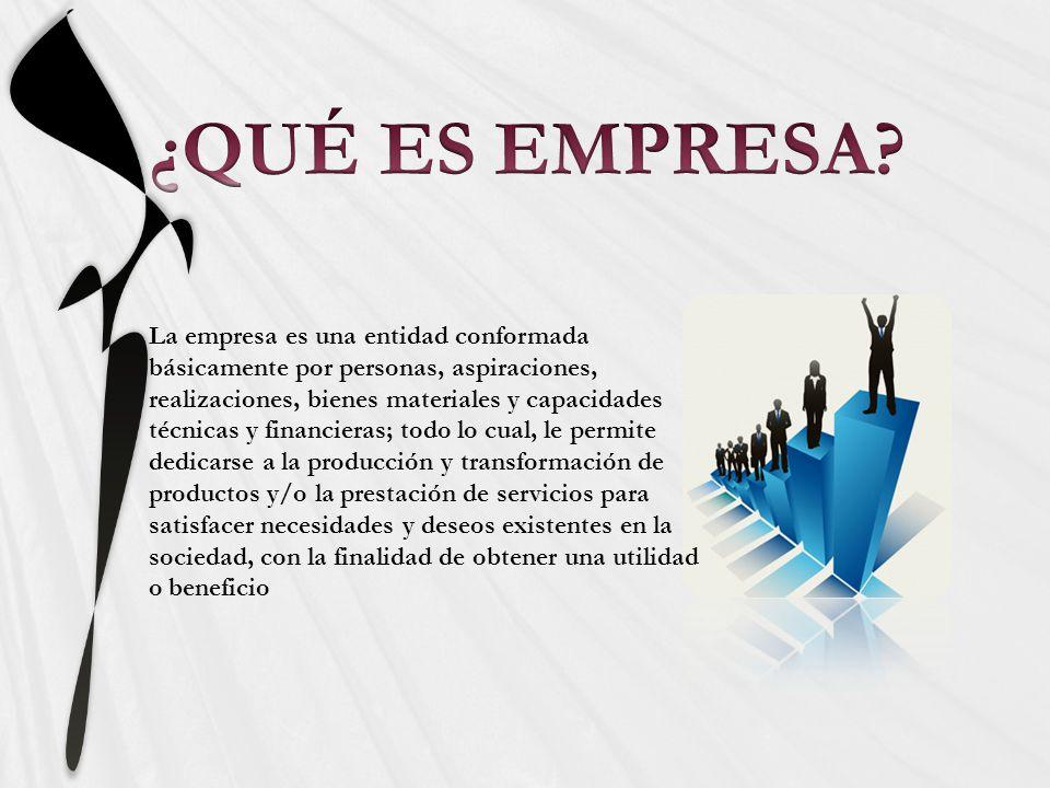 La empresa es una entidad conformada básicamente por personas, aspiraciones, realizaciones, bienes materiales y capacidades técnicas y financieras; to