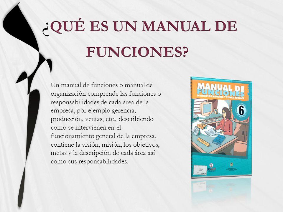 Un manual de funciones o manual de organización comprende las funciones o responsabilidades de cada área de la empresa, por ejemplo gerencia, producci