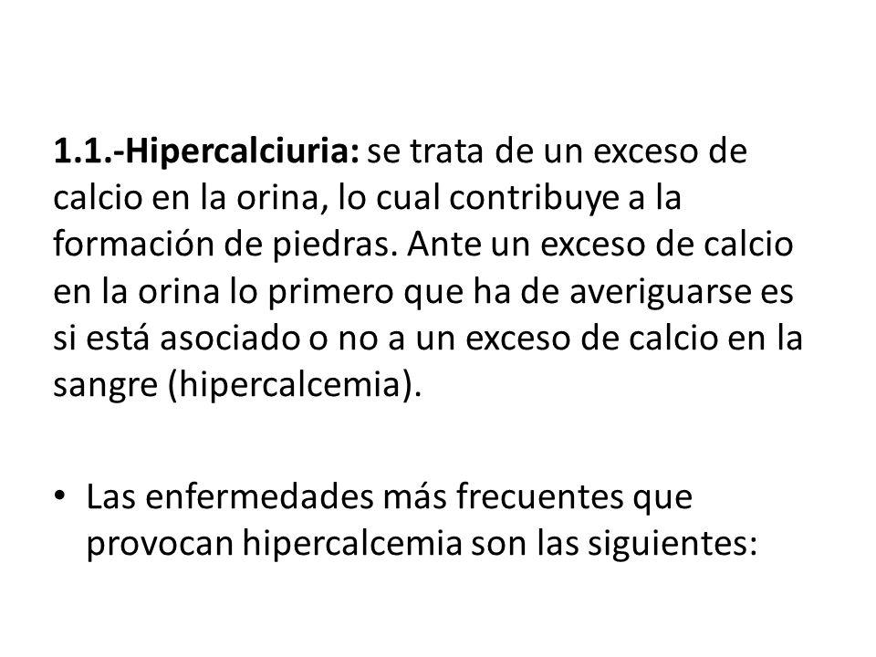 1.1.-Hipercalciuria: se trata de un exceso de calcio en la orina, lo cual contribuye a la formación de piedras. Ante un exceso de calcio en la orina l