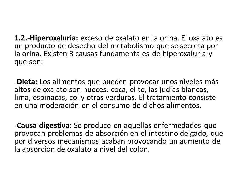 1.2.-Hiperoxaluria: exceso de oxalato en la orina. El oxalato es un producto de desecho del metabolismo que se secreta por la orina. Existen 3 causas