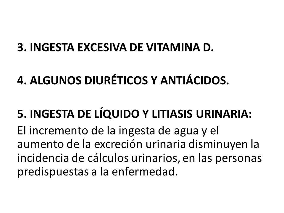 3. INGESTA EXCESIVA DE VITAMINA D. 4. ALGUNOS DIURÉTICOS Y ANTIÁCIDOS. 5. INGESTA DE LÍQUIDO Y LITIASIS URINARIA: El incremento de la ingesta de agua