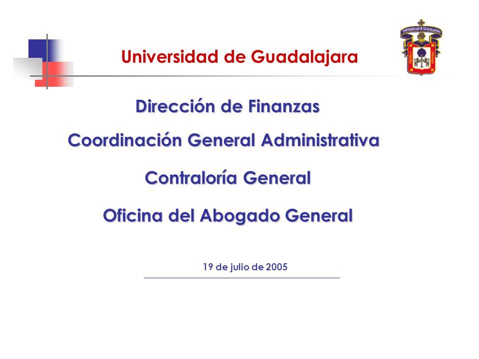 Universidad de Guadalajara 19 de julio de 2005 Contraloría General Dirección de Finanzas Oficina del Abogado General Coordinación General Administrativa