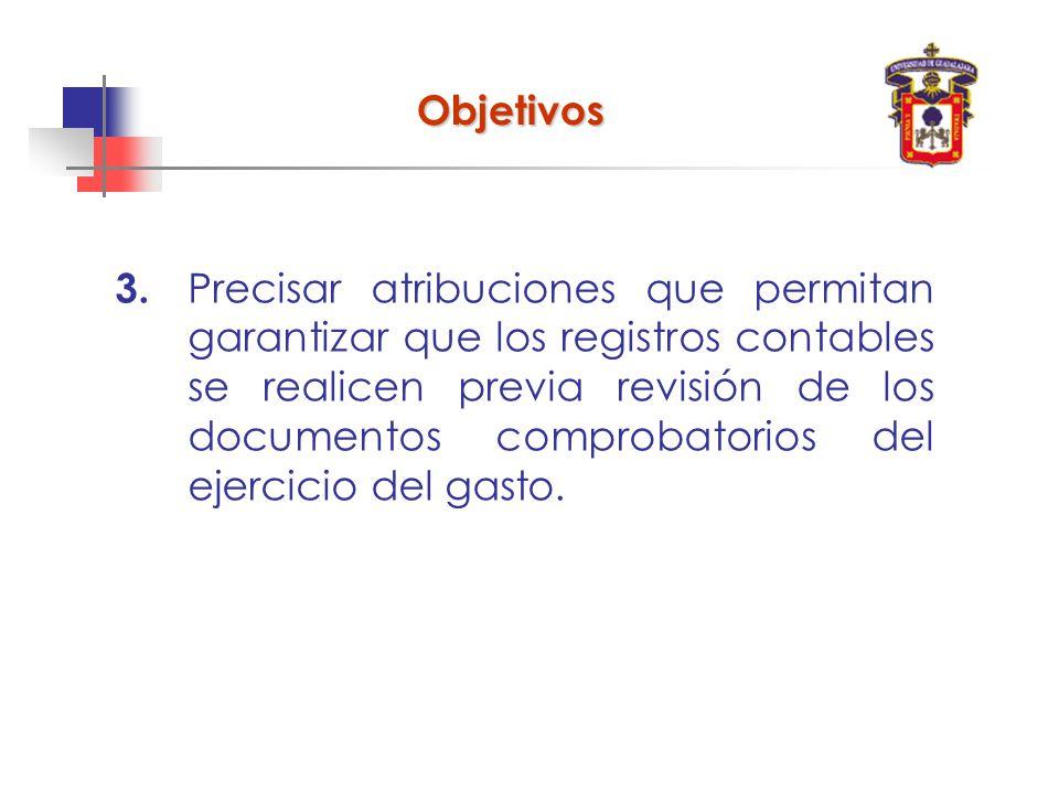 3. Precisar atribuciones que permitan garantizar que los registros contables se realicen previa revisión de los documentos comprobatorios del ejercici