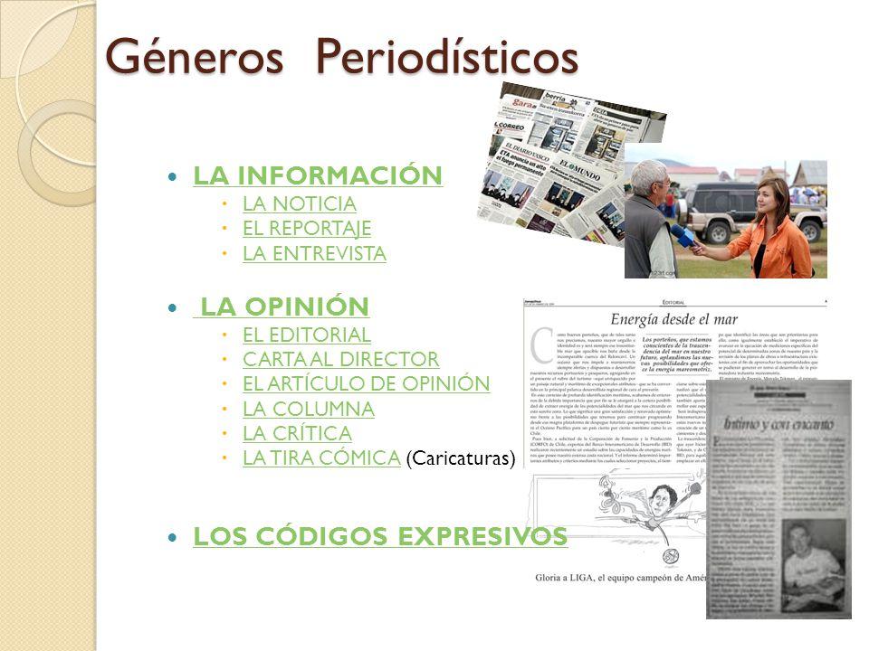 Géneros Periodísticos LA INFORMACIÓN  LA NOTICIA LA NOTICIA  EL REPORTAJE EL REPORTAJE  LA ENTREVISTA LA ENTREVISTA LA OPINIÓN LA OPINIÓN  EL EDITORIAL EL EDITORIAL  CARTA AL DIRECTOR CARTA AL DIRECTOR  EL ARTÍCULO DE OPINIÓN EL ARTÍCULO DE OPINIÓN  LA COLUMNA LA COLUMNA  LA CRÍTICA LA CRÍTICA  LA TIRA CÓMICA (Caricaturas) LA TIRA CÓMICA LOS CÓDIGOS EXPRESIVOS