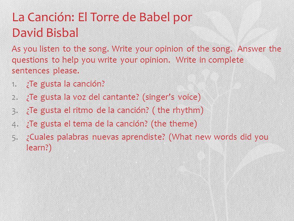 letra de la cancion torre de babel bisbal: