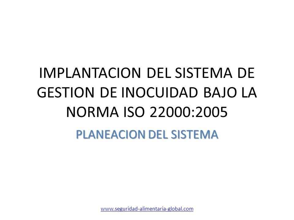 IMPLANTACION DEL SISTEMA DE GESTION DE INOCUIDAD BAJO LA NORMA ISO 22000:2005 PLANEACION DEL SISTEMA www.seguridad-alimentaria-global.com