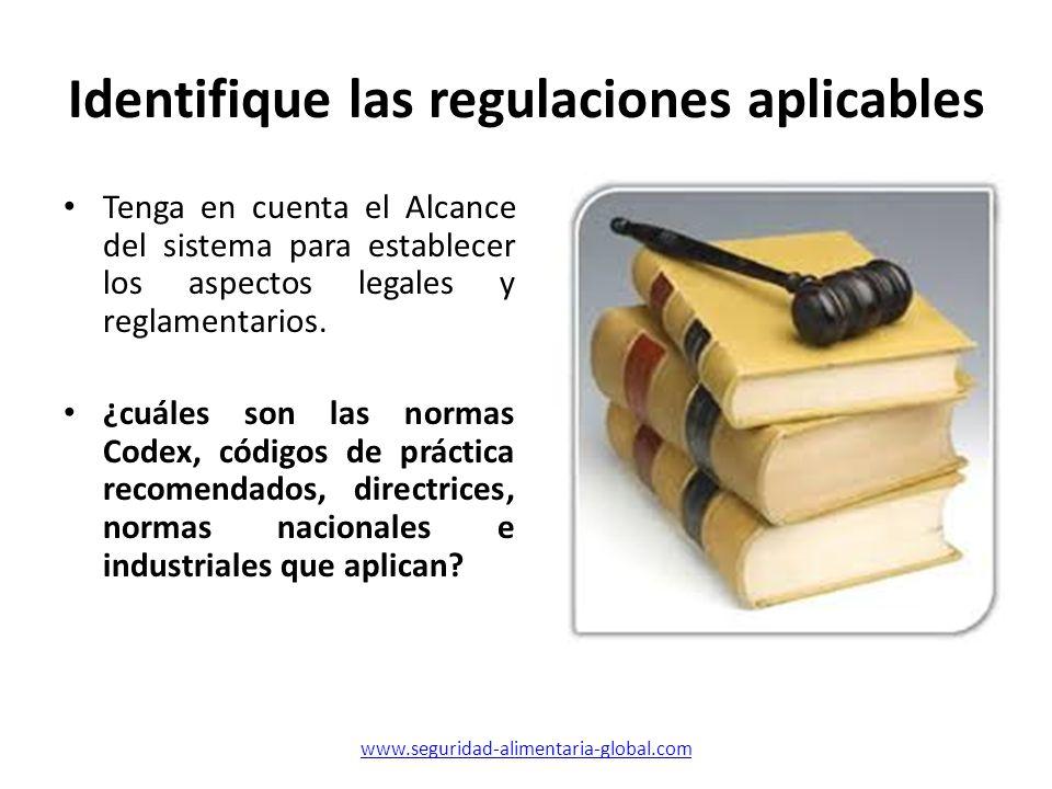 Identifique las regulaciones aplicables Tenga en cuenta el Alcance del sistema para establecer los aspectos legales y reglamentarios. ¿cuáles son las