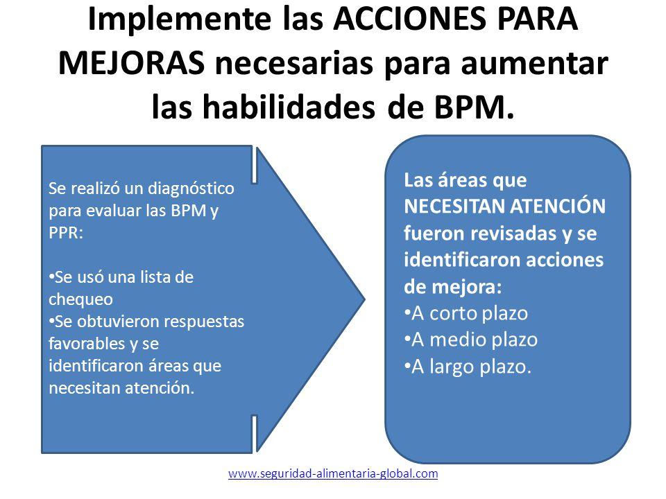 Implemente las ACCIONES PARA MEJORAS necesarias para aumentar las habilidades de BPM. Se realizó un diagnóstico para evaluar las BPM y PPR: Se usó una