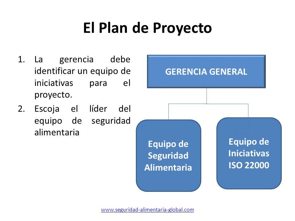 El Plan de Proyecto 1.La gerencia debe identificar un equipo de iniciativas para el proyecto. 2.Escoja el líder del equipo de seguridad alimentaria Eq