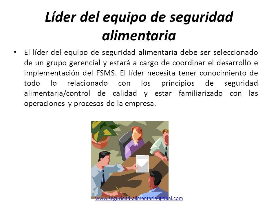 Líder del equipo de seguridad alimentaria El líder del equipo de seguridad alimentaria debe ser seleccionado de un grupo gerencial y estará a cargo de