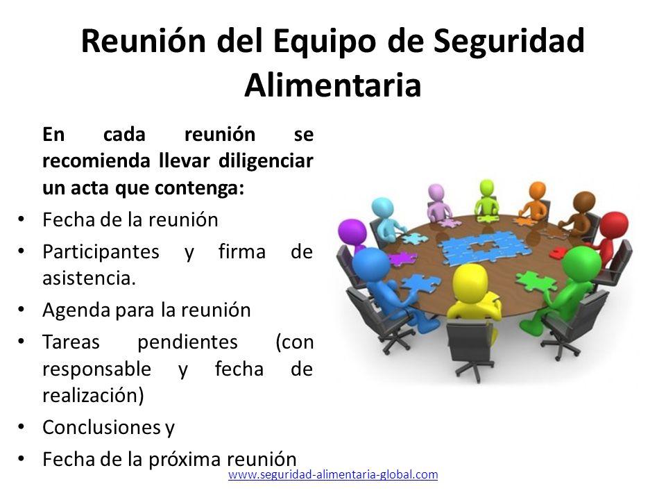 Reunión del Equipo de Seguridad Alimentaria En cada reunión se recomienda llevar diligenciar un acta que contenga: Fecha de la reunión Participantes y
