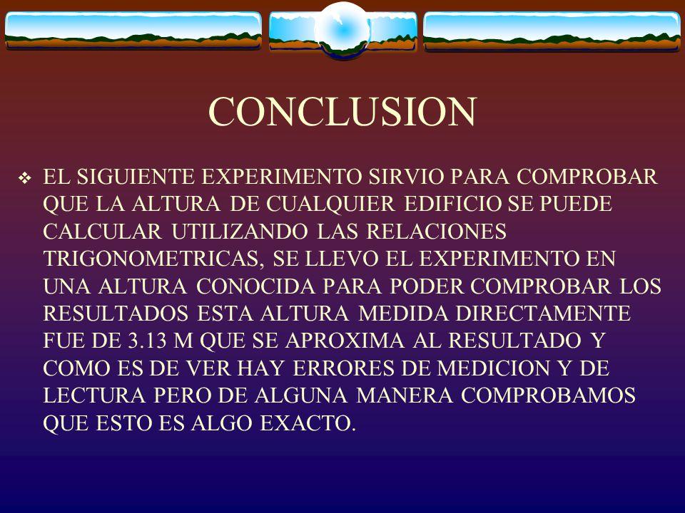 CALCULOS DDE LA RELACION TRIGONOMETRICA DESPEJAMOS PARA ENCONTRAR LA ALTURA Y SUSTITUIMOS LOS VALORES DEL TANGENTE DE 60° Y EL VALOR DEL CATETO ADYACENTE DDANDO POR RESULTADO : AALTURA = (1.8)(1.73205) = 3.1176