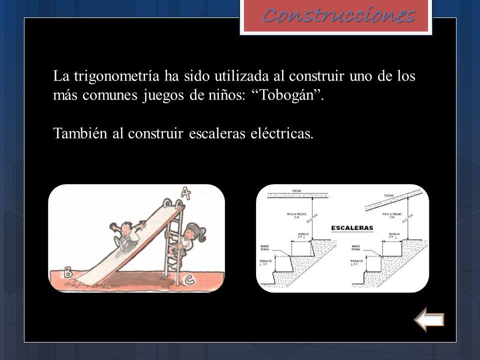 """Construcciones La trigonometría ha sido utilizada al construir uno de los más comunes juegos de niños: """"Tobogán"""". También al construir escaleras eléct"""