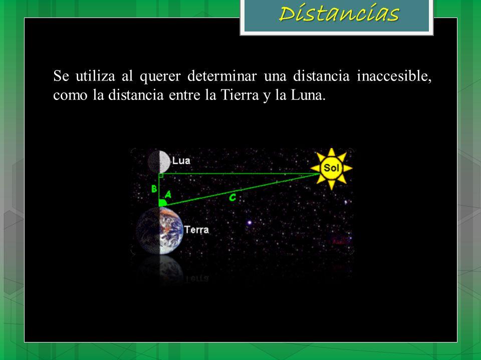 Distancias Se utiliza al querer determinar una distancia inaccesible, como la distancia entre la Tierra y la Luna.