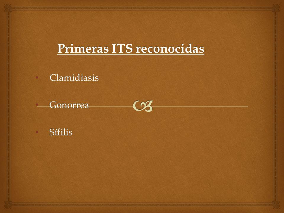 Primeras ITS reconocidas Clamidiasis Clamidiasis Gonorrea Gonorrea Sífilis Sífilis