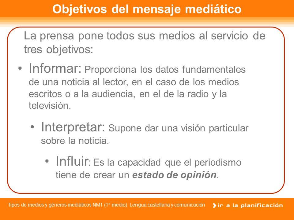 Tipos de medios y géneros mediáticos NM1 (1° medio) Lengua castellana y comunicación La prensa escrita, la radio y la televisión, son los medios informativos más importantes.